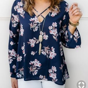 Lush Nordstrom Criss Cross Front Floral Top